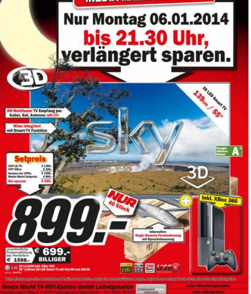 MM Einkaufsnacht [LOKAL] Ludwigshafen: LG LA6208  55Zoll 3D LED Smart TV inkl. Xbox 360 E für 899€, Samsung Galaxy Tab 3 8.0 16GB Wifi für 199€