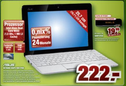 """ASUS EeePC R051PEM (N550, 10,1"""", 250GB, 1GB Ram, 802.11n, Win7) für 222,- bei Staples offline"""