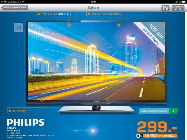[Lokal Leipzig] Saturn Philips 40 PFL 3078 K LCD TV