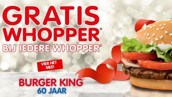 60 Jahre Burger King - 2 Whopper zum Preis von einem (Niederlande)!