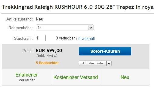 Raleigh Rushhour 6.0 Modell 2014, Rahmenhöhe 45 cm