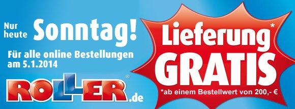 [Online] Roller.de Gratis Lieferung ab 200€ nur am 19.1