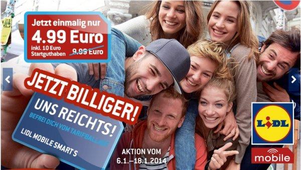 Lidl mobil Smart S für 4,99€ (Startpaketpreis) anstatt 9,99€ !