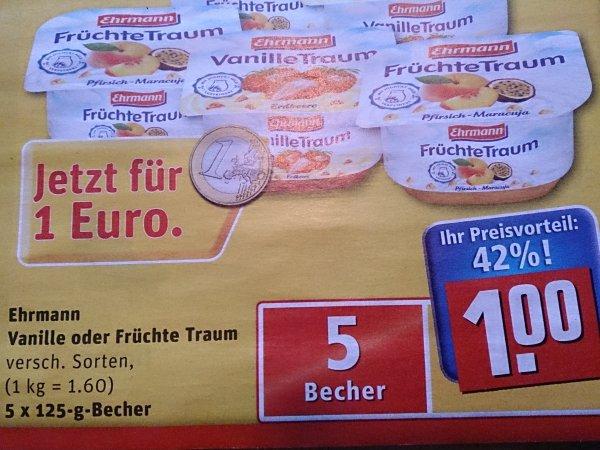 [REWE] 5 Becher Ehrmann Joghurt für 1€
