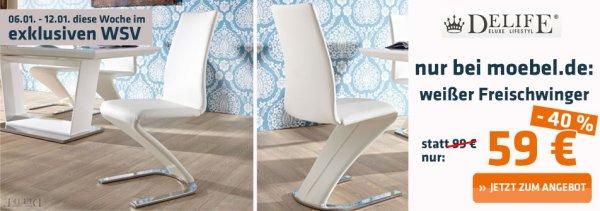 [moebel.de] Freischwinger Stuhl in weiß für 59 Euro