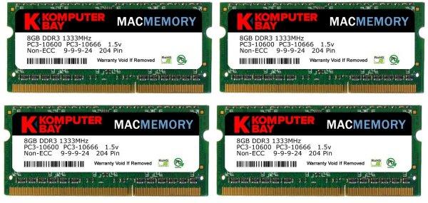 Komputerbay MACMEMORY 32GB (4X8GB) PC3-10600 PC3-10666 1333MHz SODIMM 204-Pin Laptop Speicher 9-9-9-24 für Apple Mac für 71,78 € @Amazon.co.uk