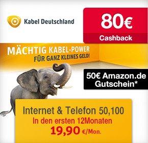 Kabel Deutschland 50/100MB mit 50€ Amazon Gutschein+ 80€ Cashback von Qipu + bis zu 6 Gratis Monate gratis