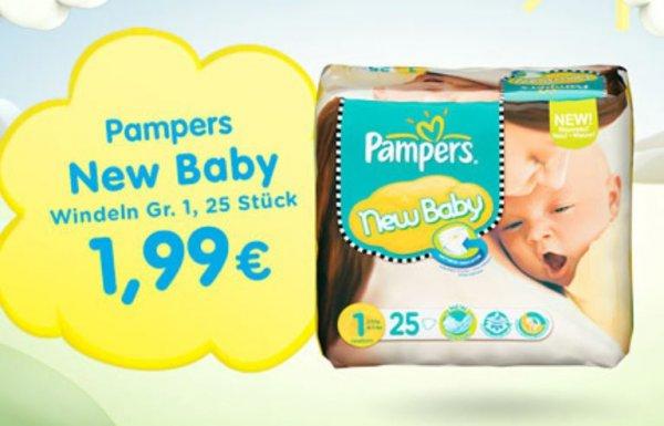 Pampers Newborn 25 Stück für 1,99€ bei baby-markt.de & 6% Qipu ab 20€ Vsk-frei