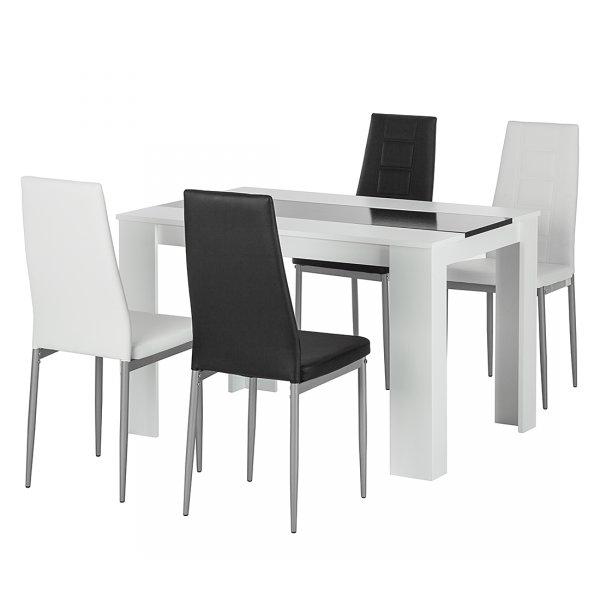 Essgruppe 5-teilig, Esstisch + Stühle, schwarz weiß, 149,99 Euro @ ebay