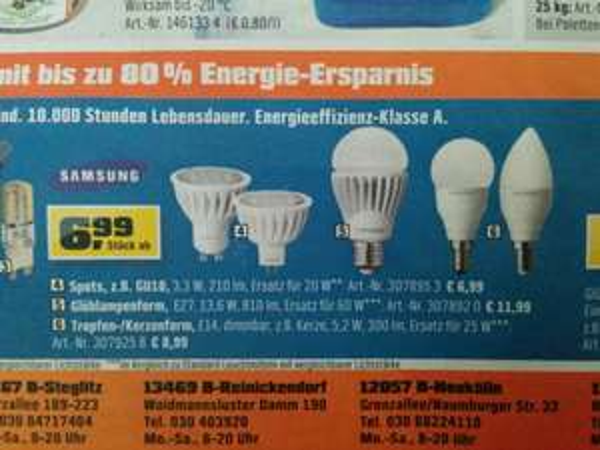 [Lokal Berlin] LED Leuchtmittel E14, GU10, E27... von Samsung bei OBI