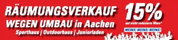 Aachen: Intersport Räumungsverkauf wegen Umbau. 15% auf Alles, teilweise bis 70% reduziert