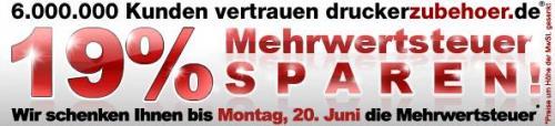 druckerzubehör.de: 19% Mehrwertsteuer sparen bis Montag, 20. Juni 2011