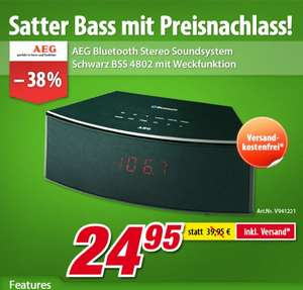 AEG BSS 4802 Bluetooth(A2DP)/USB/AUX-IN Stereo-Soundsystem mit UKW-Radio+Weckfunktion € 24,95 inkl. Versand @ voelkner.de