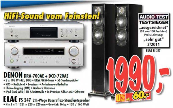 ELAC FS 247 Lautsprecher + Denon DRA-700AE + DCD-720AE für € 1990 bei Technoland Deizisau