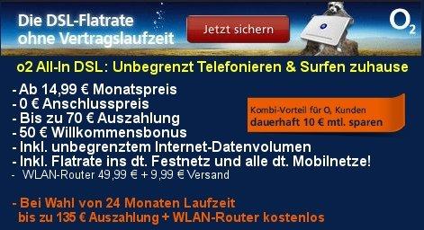 3 Monate VDSL mit 15 € gewinn?? Vertrag O2 DSL All-in L ohne MVL