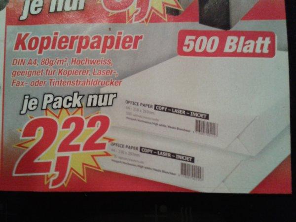 Kopierpapier 80g/m2 500 Blatt für 2,22 € offline @ Posten?Börse