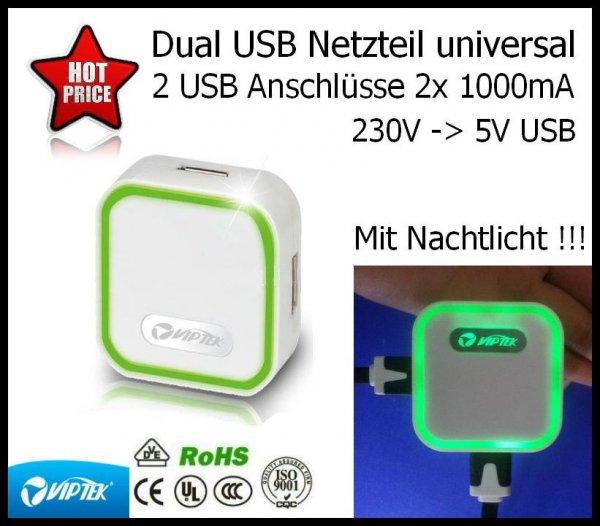 Dual USB Netzteil mit Nachtlicht Funktion 2 mal 5V USB Anschluss je 1000 mA 9,90€ inkl. versand bei Ebay