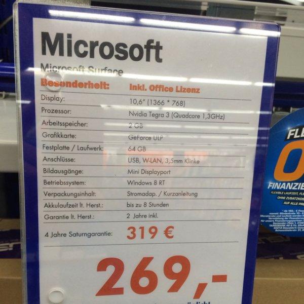 [Saturn Zwickau] Microsoft Surface RT 64GB + Office