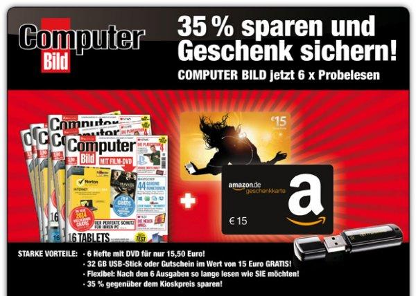 wieder erhältich, 6 x Computerbild für 15,50 Euro incl. 15€ Amazon Gutschein oder 15€ itunes