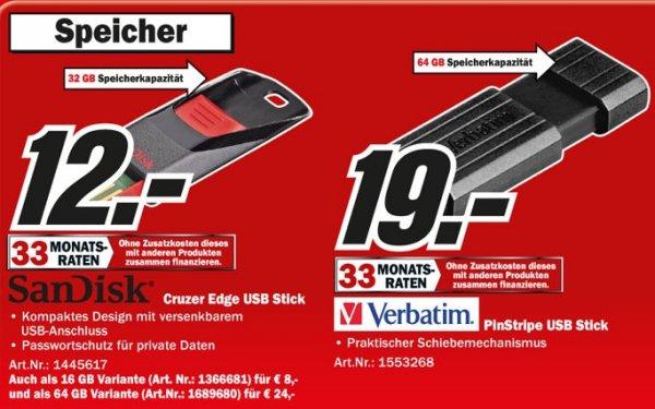 Sandisk Cruzer Edge USB Stick 32GB 12€, Verbatim Store 'n' Go PinStripe 64GB 19€ @ Mediamarkt