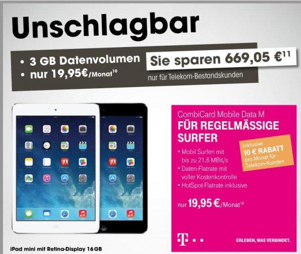 [Bestandskunden] Telekom Combi Card mobile Data M inkl. iPad mini Retina cellular 79€