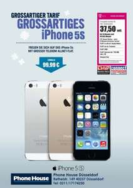 Telekom Complete Comfort M inkl. iPhone 5S 16GB - Montalich nur 37,50 €