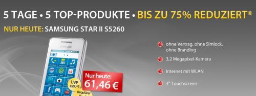 Samsung Star II S5260 (mit Wlan) für 61,46€ bei MeinPaket