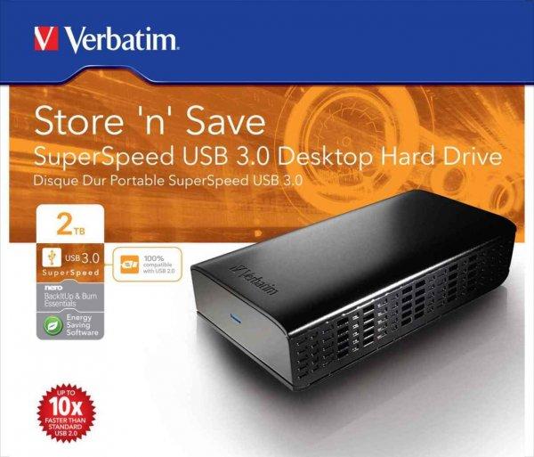 VERBATIM Store 'n' Save SuperSpeed USB 3.0 Externe Festplatte in 2TB für 68,90€; 3TB für 91,99€; 4TB für 132,99