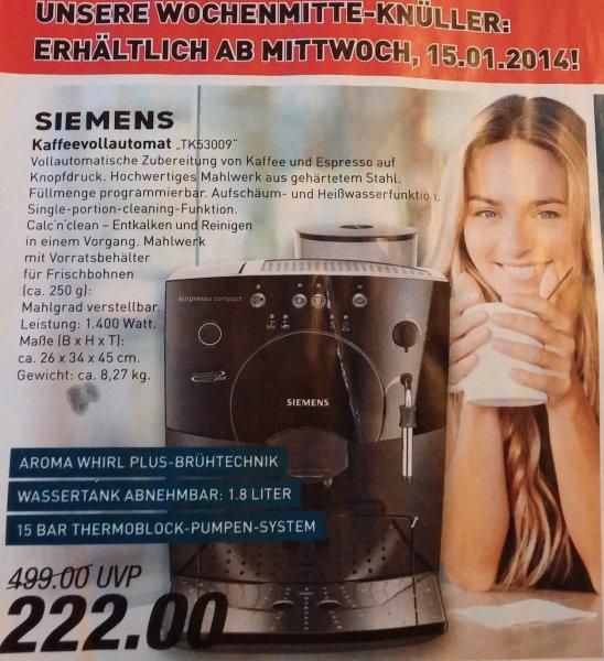 Siemens Kaffeevollautomat TK53009 für 222€ Marktkauf ab 15.1 evtl. Lokal - Idealo 299€