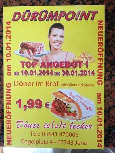 [Lokal Jena] Neueröffnung Dürüm Point - Döner für 1,99€ bis 30.01.2014