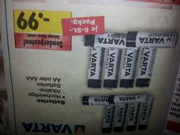VARTA Batterien je 6st. in der Packung für NUR 0,99€ [KAUFLAND]