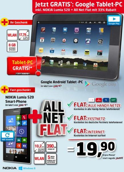 Gratis Nokia Lumia 520 + Tablet PC zu Allnet + Internet Flat nur 19,95€ mtl (508,75€ in 2Jahren)