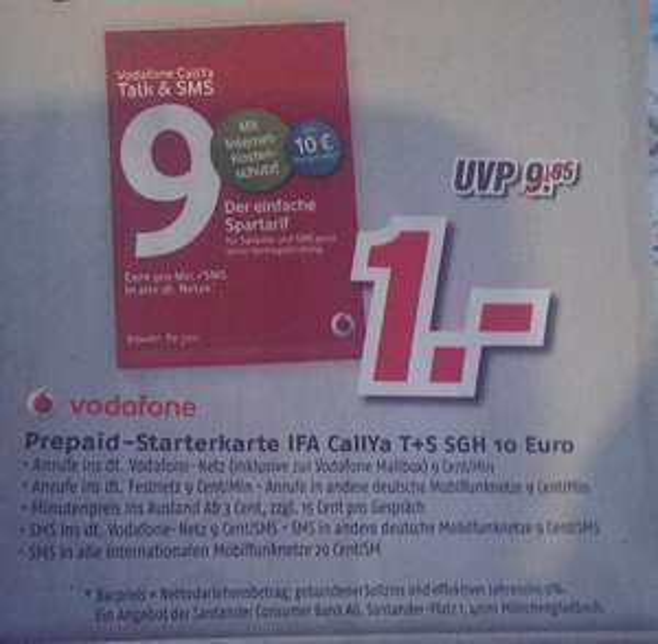 [Medimax lokal] Vodafone Prepaid Starterkarte (CallYa Talk + SMS) 10 Euro Startguthaben