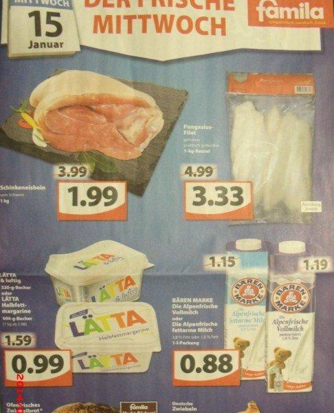 [Regional] Bärenmarke Frische Milch (1,8 oder 3,8 % Fett) für 0,88€ (mit Coupon von Coupies für 0,44 €) bei Famila Nordwest am 15.01.2014