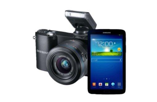 SAMSUNG NX 1100 (incl. Photoshop Lightroom 4) + 20-50mm Objektiv + Galaxy Tab 3 7.0 8GB schwarz oder weiss @ Saturn.de ab EUR 299,00