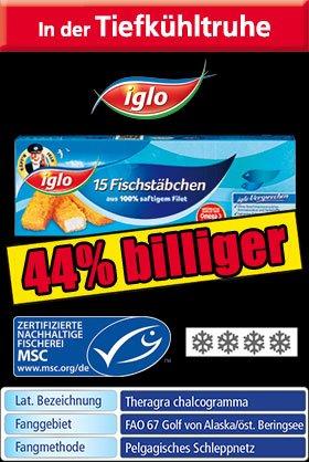 Iglo Fischstäbchen 15 Stück 1,59€ ab Fr. bei Norma