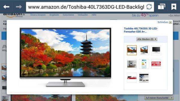 Amazon.de Toshiba 40L7363DG 102 cm für nur 449€ (40 Zoll) 3D LED-Backlight-Fernseher EEK A+ (Full-HD, 200Hz AMR, DVB-T/-C/-S, CI+, WLAN, Smart TV, HbbTV)