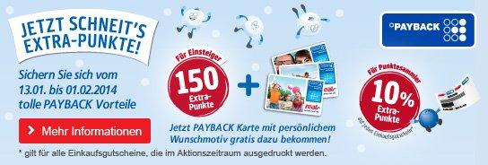 10% Extra Payback Punkte für Gutscheindruck bei REAL im Zeitraum 13.01.14 bis 01.02.14