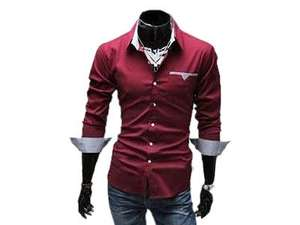 Herren Hemd (= MERISH) Slim Fit XS-XL (rot, schwarz, weiß) via Aliexpress