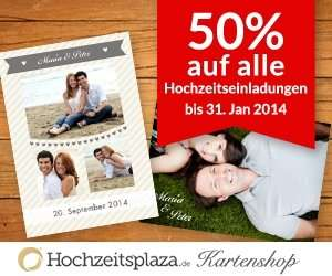 -50% auf alle Hochzeitseinladungskarten @Hochzeitsplaza-Kartenshop