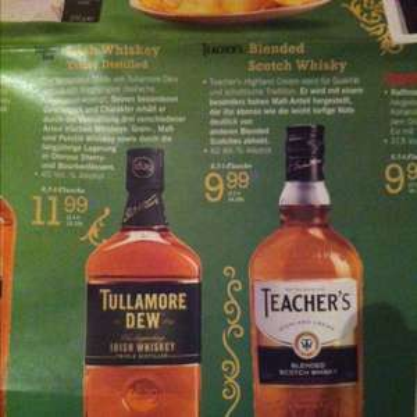 Lidl (evtl. Nur lokal in Paderborn ) diverse whisky / Whiskey zB teachers ab 9,99€