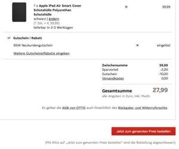 Nur Neukunden: Smart Cover Ipad Air 27,99€ bei Otto.de