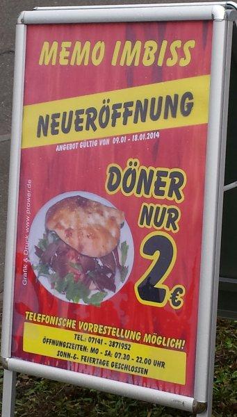 Döner 2 Euro Neueröffnung Asperg [lokal]