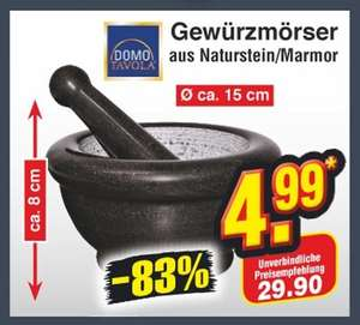 """[Netto """"ohne Hund""""] Gewürzmörser aus Naturstein/Marmor"""