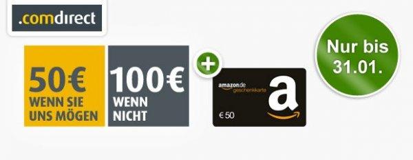 Kostenloses comdirect Girokonto + 50€ Amazon Gutschein + 50-100€ Cashback
