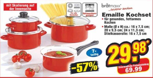 Bratmaxx Emaille Kochtopf-Set 7-teilig bei NETTO für 29,98 Euro