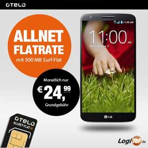 LG G2 16GB Handy|Otelo Allnet-Flat M Vertrag|Internet(500MB)|Flat in alle Netze 24 Monate Laufzeit 24,99/Monat