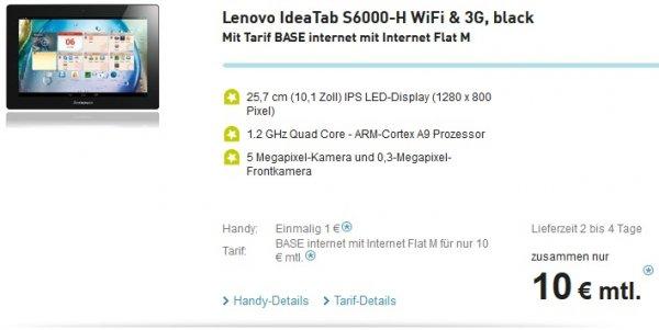 Lenovo IdeaTab S6000-H WiFi & 3G, black Mit Tarif BASE internet mit Internet Flat M