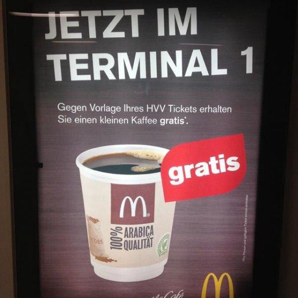 kostenloser Kaffee bei McDonalds am Hamburger Flughafen