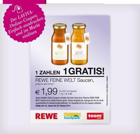 [REWE/Toom/Kaufpark] 2x REWE FEINE WELT Saucen 1,99€ mit (downloadbaren) Laviva Coupon